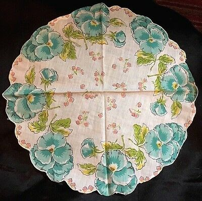 "FINE FRENCH PRINT HANDKERCHIEF. 12"" DIAMETER, Precious Pansies In The ROUND!"