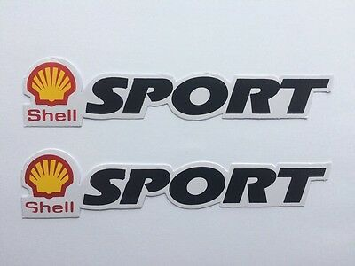 SHELL SPORT Stickers / Decals x2 - Engine Oil, Lubricants, Fuel, Petrol, Diesel