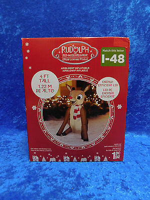 4' Airblown Inflatable Rudolph Reindeer LIGHTS UP Cristmas