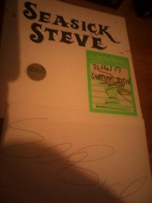 GENUINE hand signed Seasick Steve backstage pass, coin and white paper