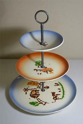 Vintage 3 Tier Country Style Serving Tray w/ California Pottery Plates