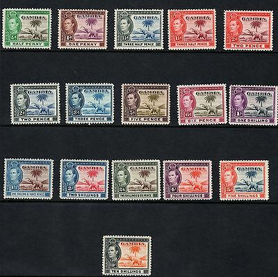 GAMBIA 1938 KGVI SG150-161 COMPLETE SET OF 16 - lightly mounted mint