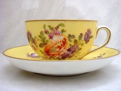 Dresden Porcelain Rare Yellow Ground Cup & Saucer With Beautiful Flowers!
