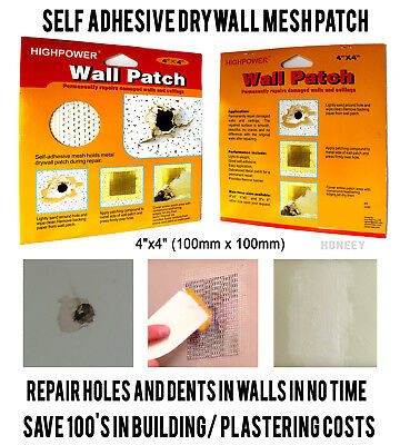 4x SELF ADHESIVE STICK MESH DRY WALL PATCH REPAIR WALL WALLS CEILING PLASTERING