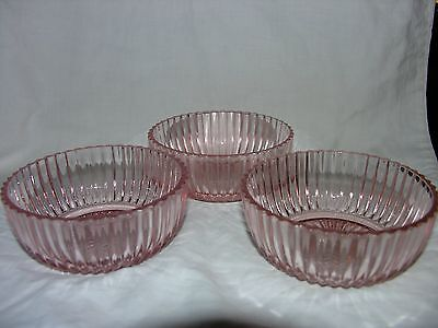 VTG Set 3 Anchor Hocking Queen Mary PINK Dessert Berry Bowls Depression Glass