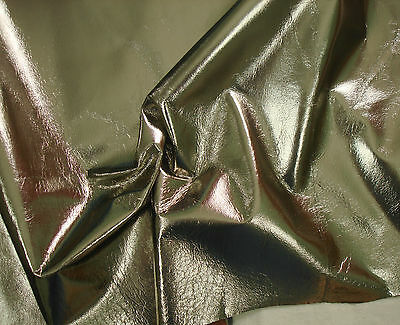 Fabulous bright metallic foil pigskin leather Ash gold BARKERS HIDE & SKINS N240