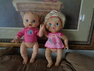 2006/2010 Baby Alive Wet and Wiggles Newborn Girl Doll WORKS Hasbro lot 2
