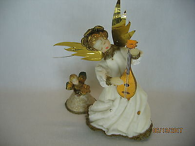 Vintage Koestel Wax Angels Christmas Tree Topper with Lute and Small Gold White