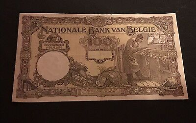 1925 Banknote 100 Francs Old Franks Belgium Banque Belgique Note