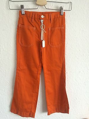 Vintage 1970s Orange Retro Kids Deadstock Bright Hippy Boho Unisex Flares 4 5 Y