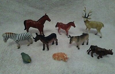 Selection of 9 plastic toy wild and farm animals