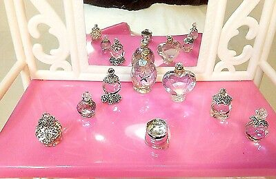 8 Pc Dollhouse Perfume Vanity Bottles Set Clear 1/6 Play-Scale Barbie Size R