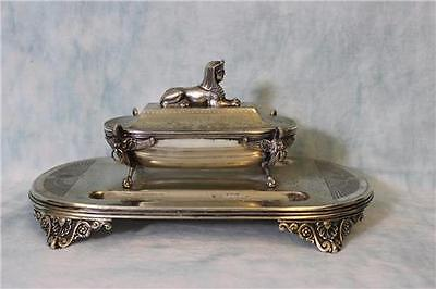 "12"" Antique silverplate Egyptian Revival Sphinx double inkwell, stamp box"