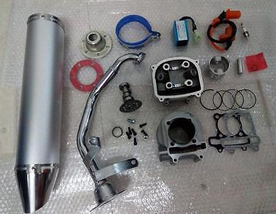Chinese Scooter 150 cc Big Bore 61 mm GY6 A9 Cam, Racing CDI & Coil Exhaust slvr