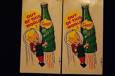 VINTAGE  Squirt soda decals,Two SQUIRT soda decals,1963,'OUT OF THIS WORLD'!!