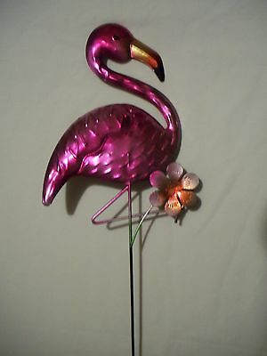 Colorful Metal Pink Flamingo Flower Yard Art Decor Garden Stake Ornament 21""