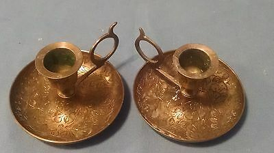 pair vintage brass chamber stick candle holders ornate