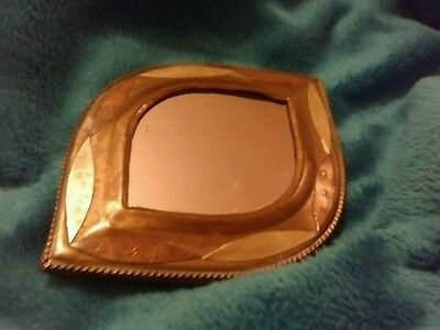 Eye shaped vintage small  wall mirror Copper MIX,very rare 11Cms long