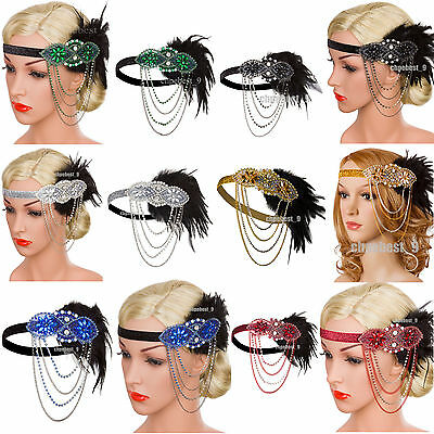 Gatsby 1920s Flapper Headbands Wedding Bridesmaids 20'S Party Bridal Accessories
