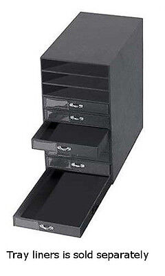"Black Leatherette 10 Drawer Jewelry Storage Organizer 14 5/8""L 8 1/2""W 16 1/4""H"