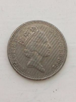 Error 10p 1992 coin-Stripes covering head side