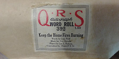 QRS Autograph piano word roll 392- KEEP THE HOME FIRES BURNING- Lee S. Roberts