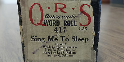 QRS autograph 417- SING ME TO SLEEP Bingham/ Roberts Word roll Player piano roll