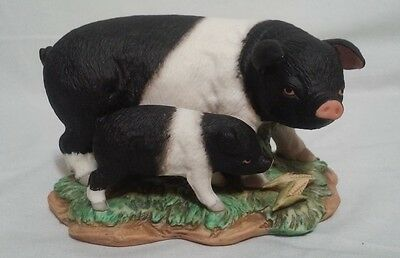 Homco Home Interiors Porcelain Figurine Pig Sow Piglet Mother Baby Farm Animals