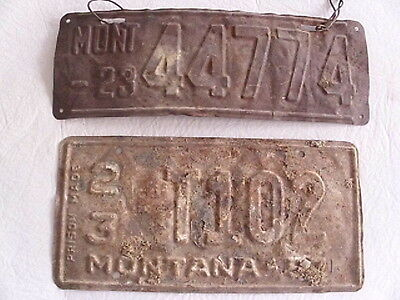 Vintage / Antique Mt Montana License Plates Year Unknown County 23 Musselshell