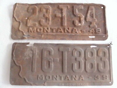 Vintage / Antique Mt Montana License Plates 1939 & 1948
