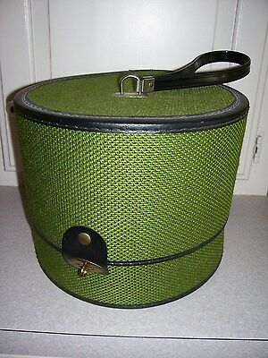 Vintage Bagmaster Hat Box Wig Carrier Retro Mod Fabric Green Black Carry Case