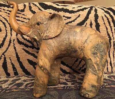 Vintage Hand Carved Composite Good Luck Elephant
