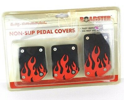 Car Non-Slip Pedal Foot Cover Flame Sport Racing Clutch Brake Accelerate - 3 Pcs