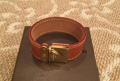 Louis Vuitton Tan w/Gold Hardware Leather Cuff Bracelet Size Small