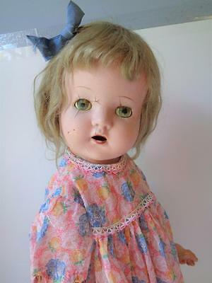 "24"" Antique Composition Cloth PETITE American Character Girl Child Doll Mama Cry"