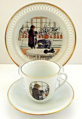 Bing & Grondahl Plate, Cup & Saucer with Carl Larsson Art, Denmark