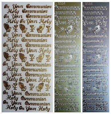 HOLY COMMUNION Peel Off Stickers Pray Religion Card Making Outline Gold Silver