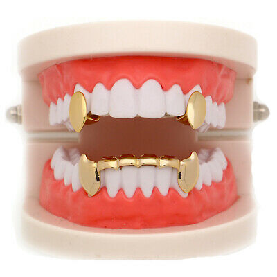 New Hip Hop Grillz Fangs 2 Single Top and 6 Bottom Set Grills Bling Teeth Caps