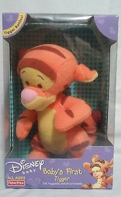 Fisher Price Disney Baby's First Tigger Plush Toy He Rattles NEW in Box 2001
