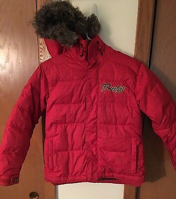 Burton Boys Down Youth Hooded Winter Insulated Ski Snowboard Jacket Small Red