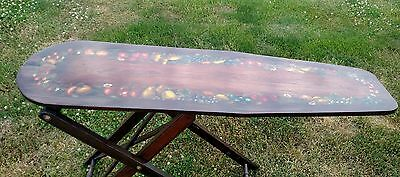 Antique Stunning Lacquered Hand-Painted Adjustable Wooden Ironing Board Unique