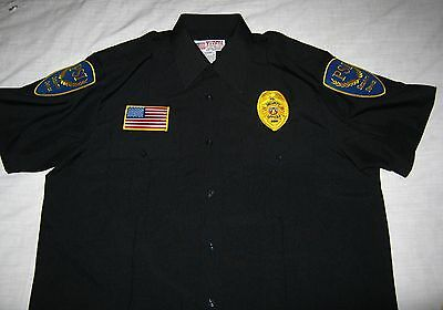 PSI SECURITY SERVICE size mens 16 16.5 2XL work uniform s/s button SHIRT - black