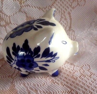 Vintage Small Money box blue and white -DELFT. Good Condition.