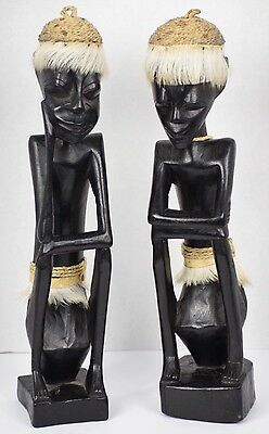 Vtg African Carved Wood Statue Tribal Man Woman Sitting