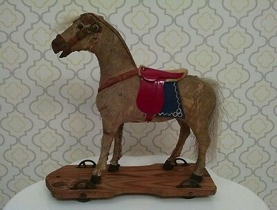 Antique Putz German Real Hide & Hair Pull Toy Horse on Metal Wheels w/ Saddle