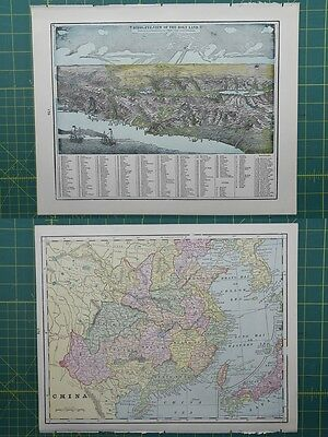 China Vintage Original 1895 Crams World Atlas Map Lot