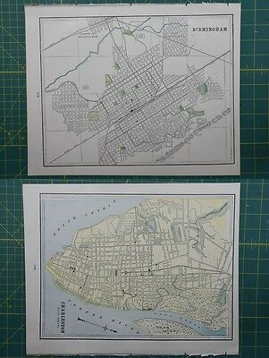 Birmingham Charleston Vintage Original 1895 Crams World Atlas Map Lot