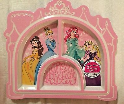 DISNEY Princess Divided dinner PLATE KIDS sections Snow White Ariel NWT