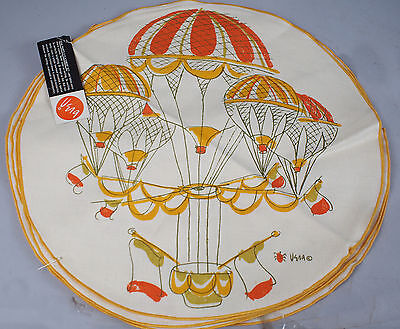 Unused w/ Tags Vtg Vera Neumann HOT AIR BALLOON Ladybug Linen Placemat Set of 8