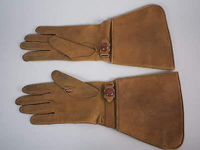 Antique Victorian Edwardian Leather Driving Car Motorcycle Ladies Gloves Vtg
